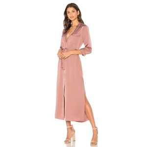 L'Academie Long Sleeve Shirt Dress Mauve S NWT